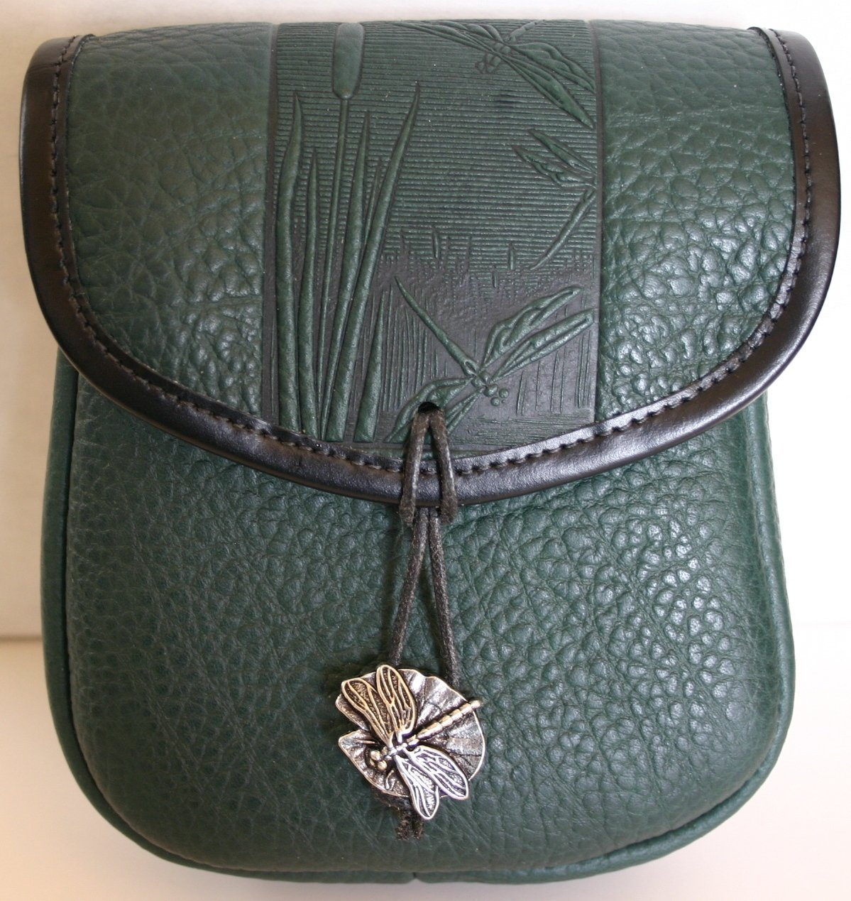Handcrafted Dragonfly Design Green Leather Belt Pouch
