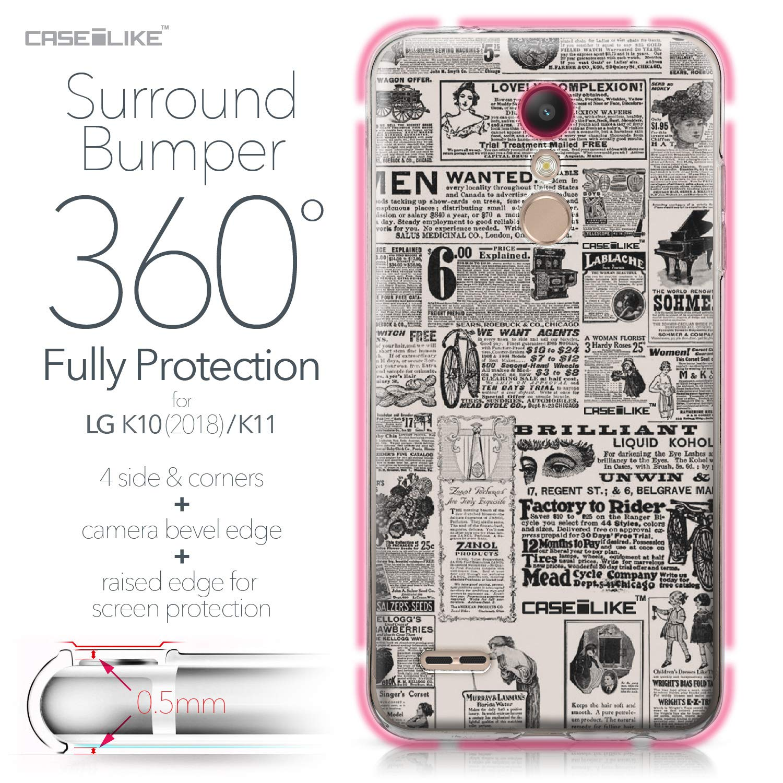 CASEiLIKE® Funda LG K10 2018, Carcasa LG K10 2018, Periódico Vintage Publicidad 4818, TPU Gel Silicone Protectora Cover