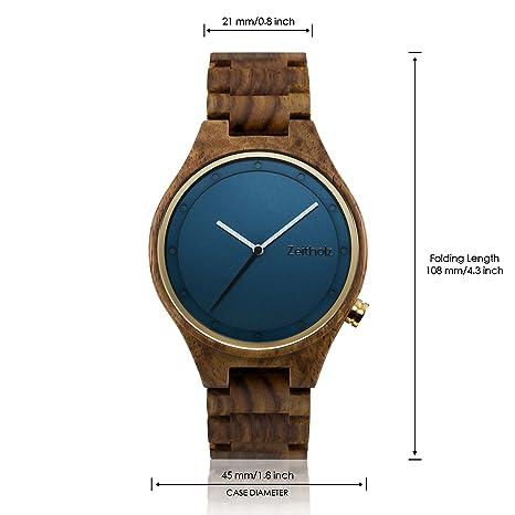 Reloj de madera ZEITHOLZ - Stolpen - 100% de Palo de rosa - Producto Natural - Hipoalergénico - Sostenible - Esfera Blanca - Reloj de pulsera en madera ...