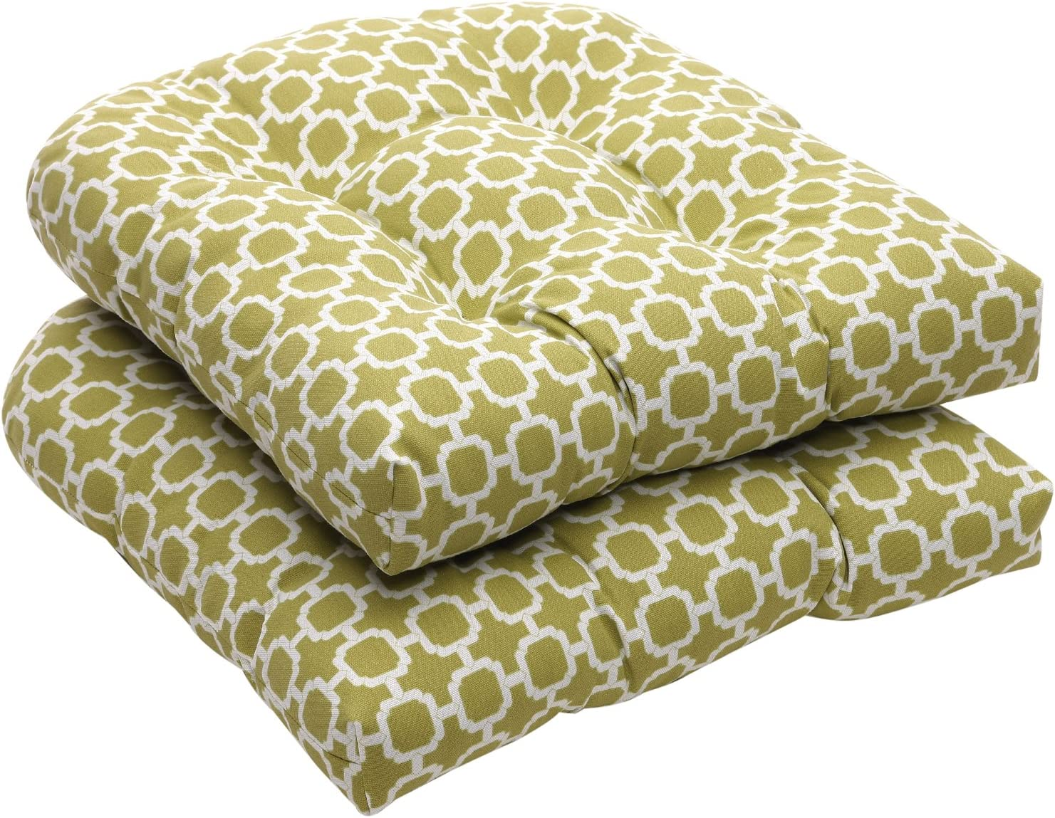 "Pillow Perfect Indoor/Outdoor Geometric Wicker Seat Cushions, 19"" L x 19"" W x 5"" D, Green/White"