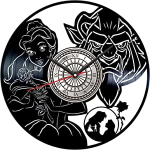 Beauty and The Beast Vinyl Record Wall Clock Poster - Vintage Home Decor Kitchen Bedroom Living Room Kids Room - Unique Handmade Gift for Kids Friends Boys Girls - 12 inches