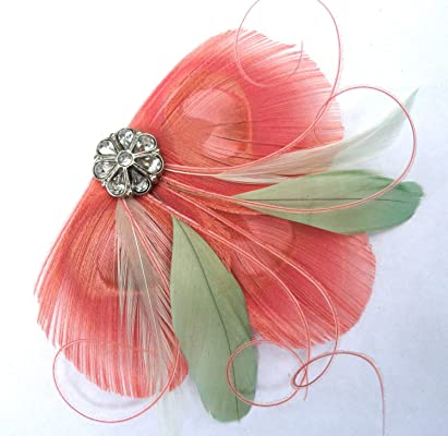 Oh Lucy Handmade CICILY Peacock Feather Hair Clip, Feather Fascinator in Coral and Mint Green