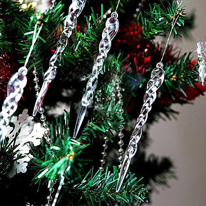 Geben Sie 2 Spulen frei Binjor 50 St/ücke H/ängende Acryl Eiszapfen Weihnachten deko Schneeflocke Wassertropfenformen gefrosteten Eiszapfen Ornamente Christbaumschmuck Eiszapfen Anh/änger