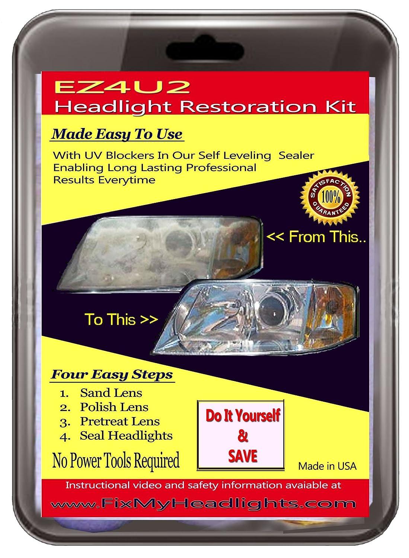 Ez4u2 Headlight Restoration Kit with UV blocker Sealer - The Best Headlight Restoration Kit in the market - Restore your Foggy Headlights like New 3 easy steps - #1 Headlight Restoration Kit used by Professional Headlight Restoration Services - Restores Ye
