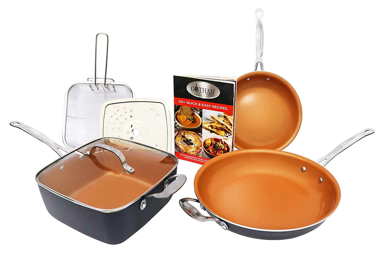 Titanium or ceramic pans. Customer reviews as the best feature 90