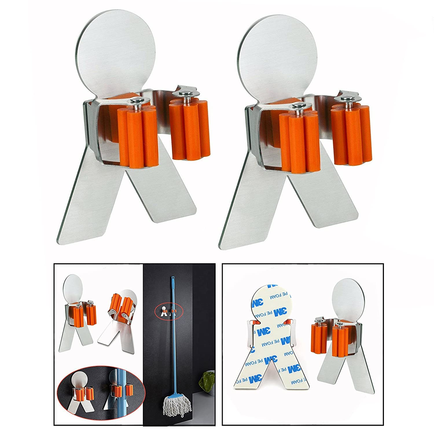 OFKPO 2 Pcs Stainless Steel Mop Broom Holder with 3M Self Adhesive Organizer Rack for Home Bathroom