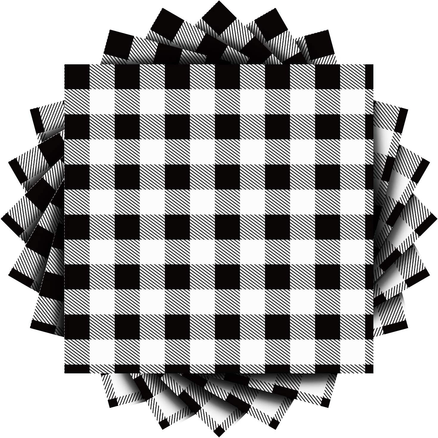 Aneco 60 Pack Black and White Plaid Papers Napkins Luncheon Napkins for Wedding, Party, Birthday, Dinner, Lunch with 3 Layers, 6.5 by 6.5 Inches