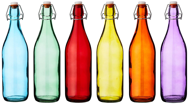 Bar @ drinkstuff Botellas colgantes de vidrio coloreado 1 litro - Juego de 6 - Botellas rojas, azules, naranjas, verdes, amarillas y moradas: Amazon.es: Industria, empresas y ciencia