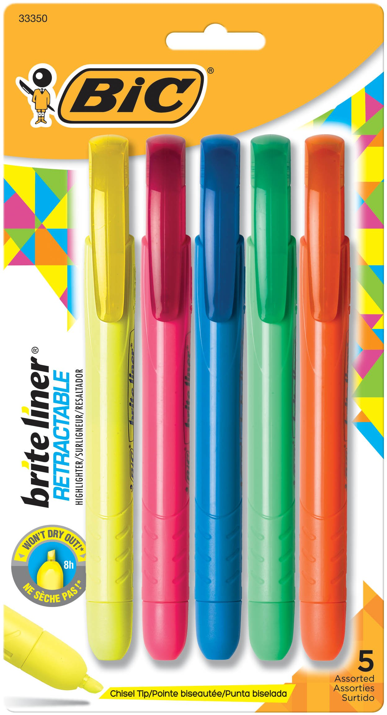 BIC Brite Liner Retractable Highlighter, Chisel Tip, Assorted Colors, 30-Count