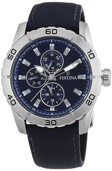 Festina F16607/2 - Reloj analógico de cuarzo para hombre con correa de piel, color azul: Festina: Amazon.es: Relojes