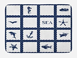 """Ambesonne Navy Blue Bath Mat, Navy Yacht Vessel Rope Used as Frame with Starfish Fish and Anchor Image, Plush Bathroom Decor Mat with Non Slip Backing, 29.5"""" X 17.5"""", Navy Blue"""