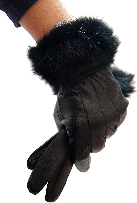 Femmes Véritable Noir Gants en cuir avec bordure en fourrure Nœud Polaire Doublé Hiver
