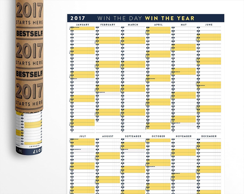Amazon.com : BestSelf Co. Matte Finish Wall Calendar 2017, Yearly ...