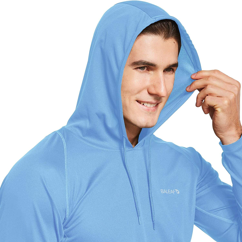 BALEAF Mens UPF 50 Sun Protection Hoodie Long Sleeve Thumbholes SPF Fishing Shirts Rash Guard