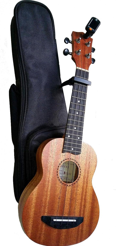 MARCE PACK UKELELE - ukelele Soprano (caja armónica de madera de Sapelly, acabado mate) + Funda + afinador digital + cejilla