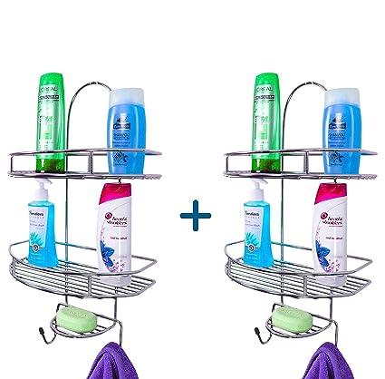 Primax 5in1 Stainless Steel Multipurpose Bathroom Shelf/Kitchen Shelf/Holder / Bathroom Accessories for Home - Pack of 2