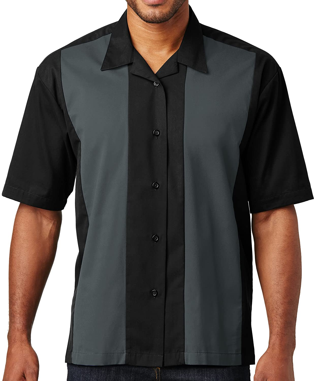 S300B Apparel 2X Black-Steel Grey Port Authority Retro Bowling Shirt