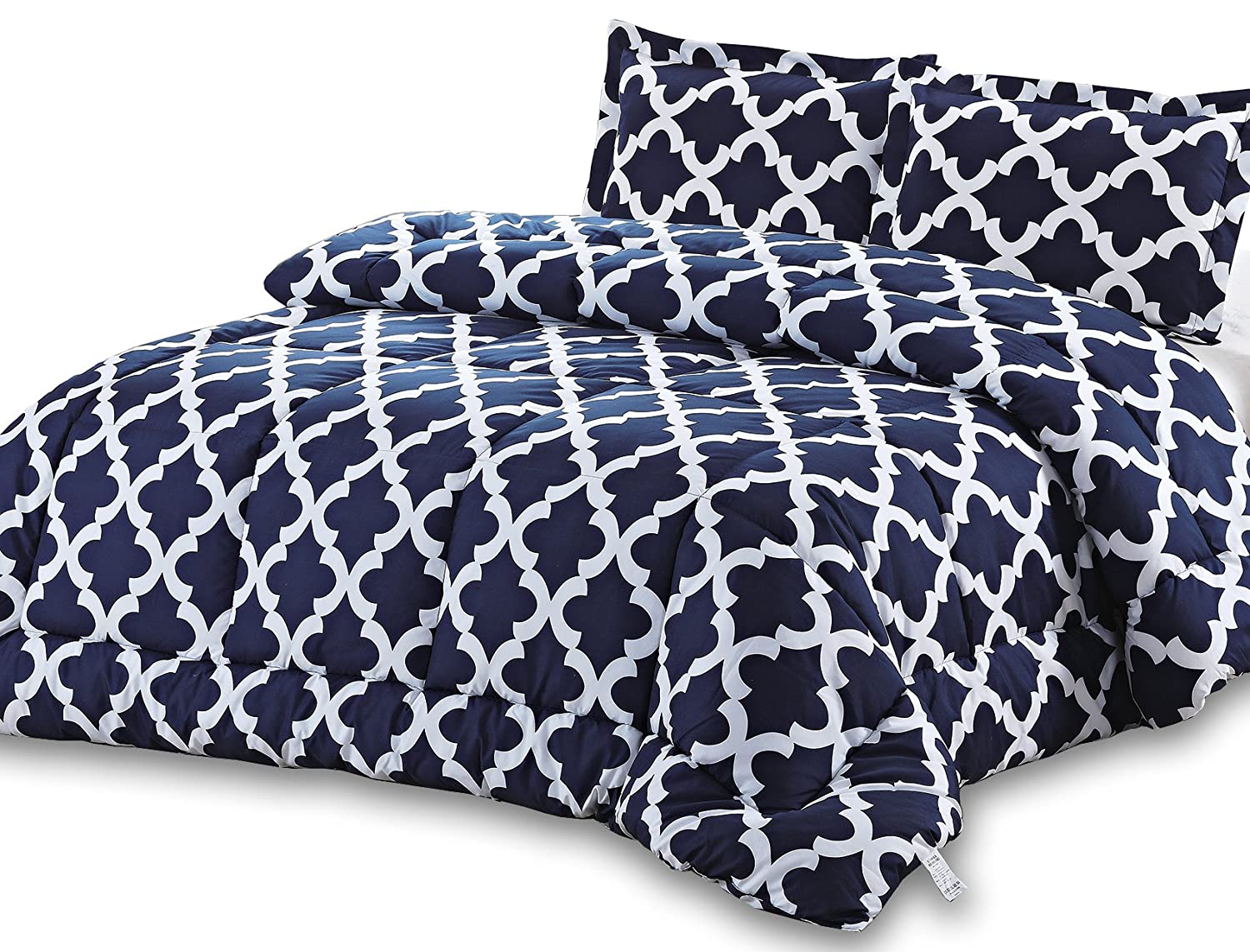 Printed Comforter Set Navy, Queen