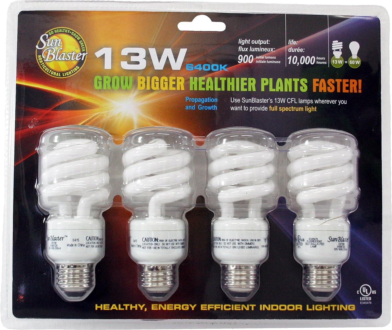 Amazon sunblaster 13 watt cfl grow lamp 4 pack plant amazon sunblaster 13 watt cfl grow lamp 4 pack plant growing light bulbs garden outdoor arubaitofo Images