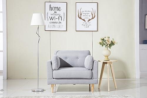 DIVANO ROMA FURNITURE Mid Century Modern Ultra Plush Linen Fabric Chair, Color Dark Grey and Light Grey Light Grey
