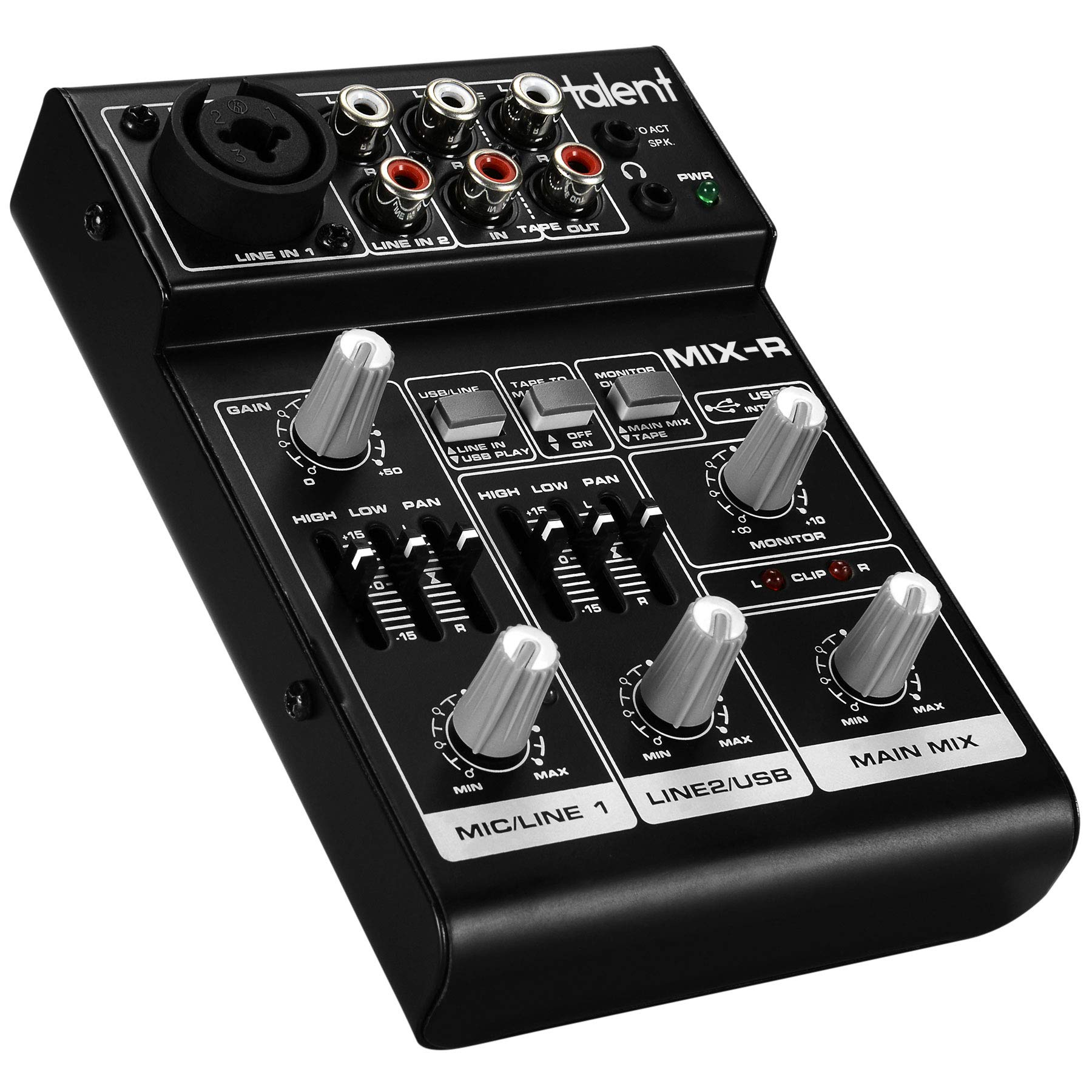 Talent Mix-R 3-Channel 4-Input 2-Bus Compact Portable Stereo Mini Mixer with USB Audio Interface & +20V Phantom Power