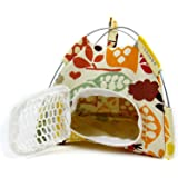 Hamster Cage, Small Pet Outdoor Tents, Lazynice Folding Pet Cage, Washable Hamster Pet Carriers Tent for Dwarf Pet Rat Bed Hedgehog Golden Squirrel,Gold Horn Bear (1414cm, colorful)