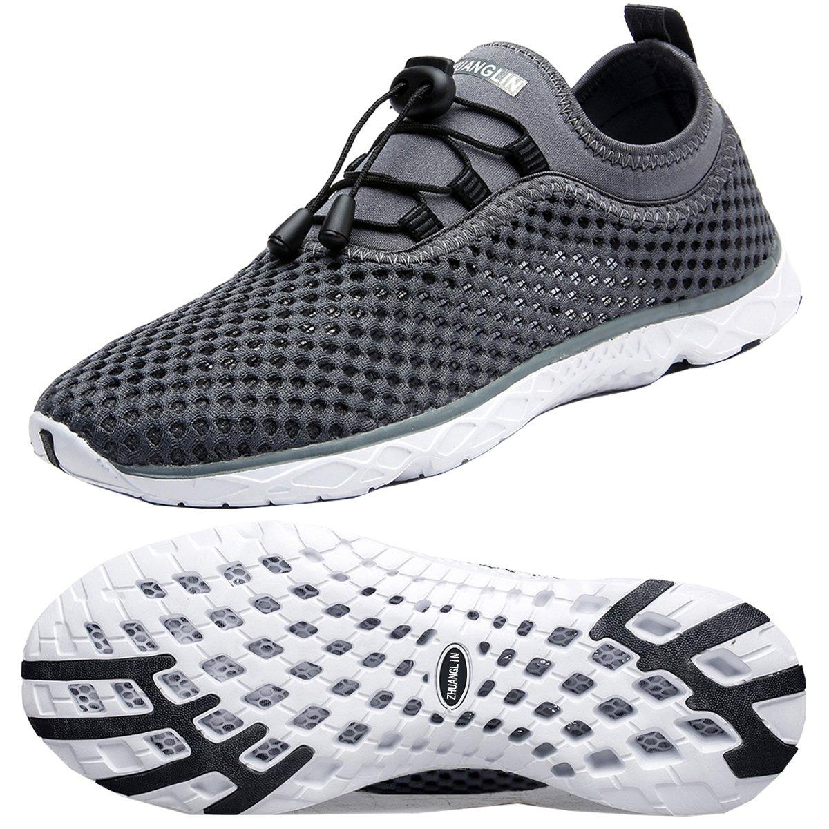Zhuanglin Women's Quick Drying Aqua Water Shoes B07CSMRBS8 10 B(M) US|Darkgrey%