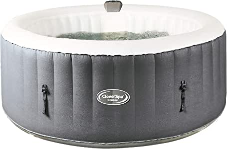 CleverSpa Shades 800 Liter 70 inch 4 Person Portable Inflatable Hot Tub Outdoor Spa with Insulated Tub Cover and Filtration Kit Included, Gray