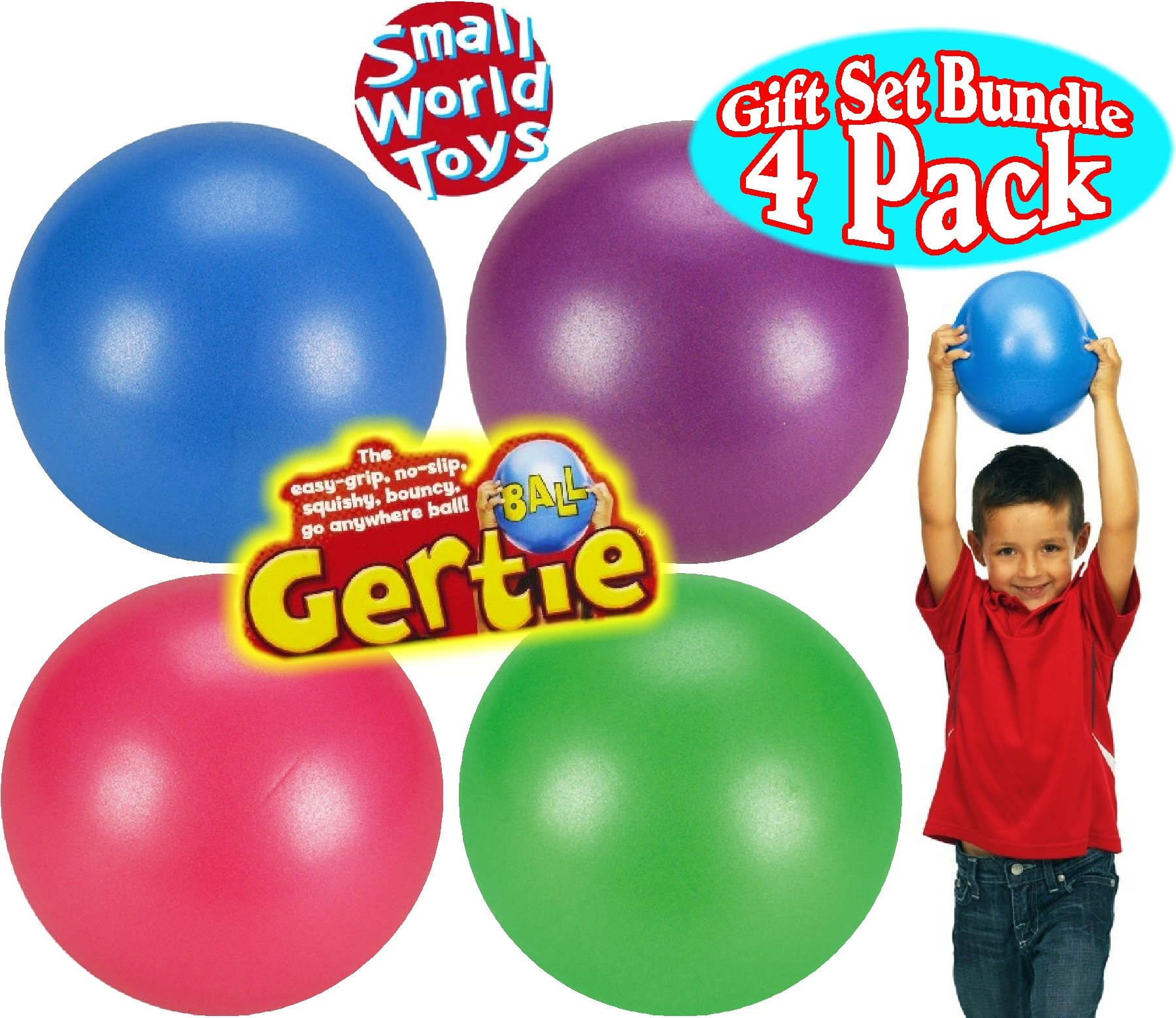Original Gertie Ball Blue, Pink, Purple & Green Gift Set Bundle - 4 Pack by Small World Toys