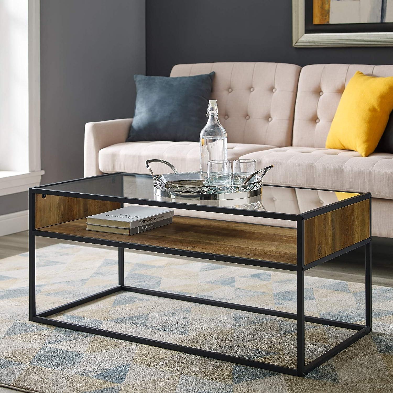 Walker Edison Industrial Modern Wood Rectangle Open Shelf Coffee Table Living Room Accent Ottoman Storage Shelf 40 Inch, Reclaimed Barnwood Brown