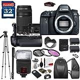 Canon EOS 6D Mark II DSLR Camera with Canon EF 50mm f/1.8 STM Lens & Canon EF 75-300mm f/4-5.6 III Lens, TTL Flash, Tripod, Mono-Pod, Battery Grip + Professional Accessory Bundle