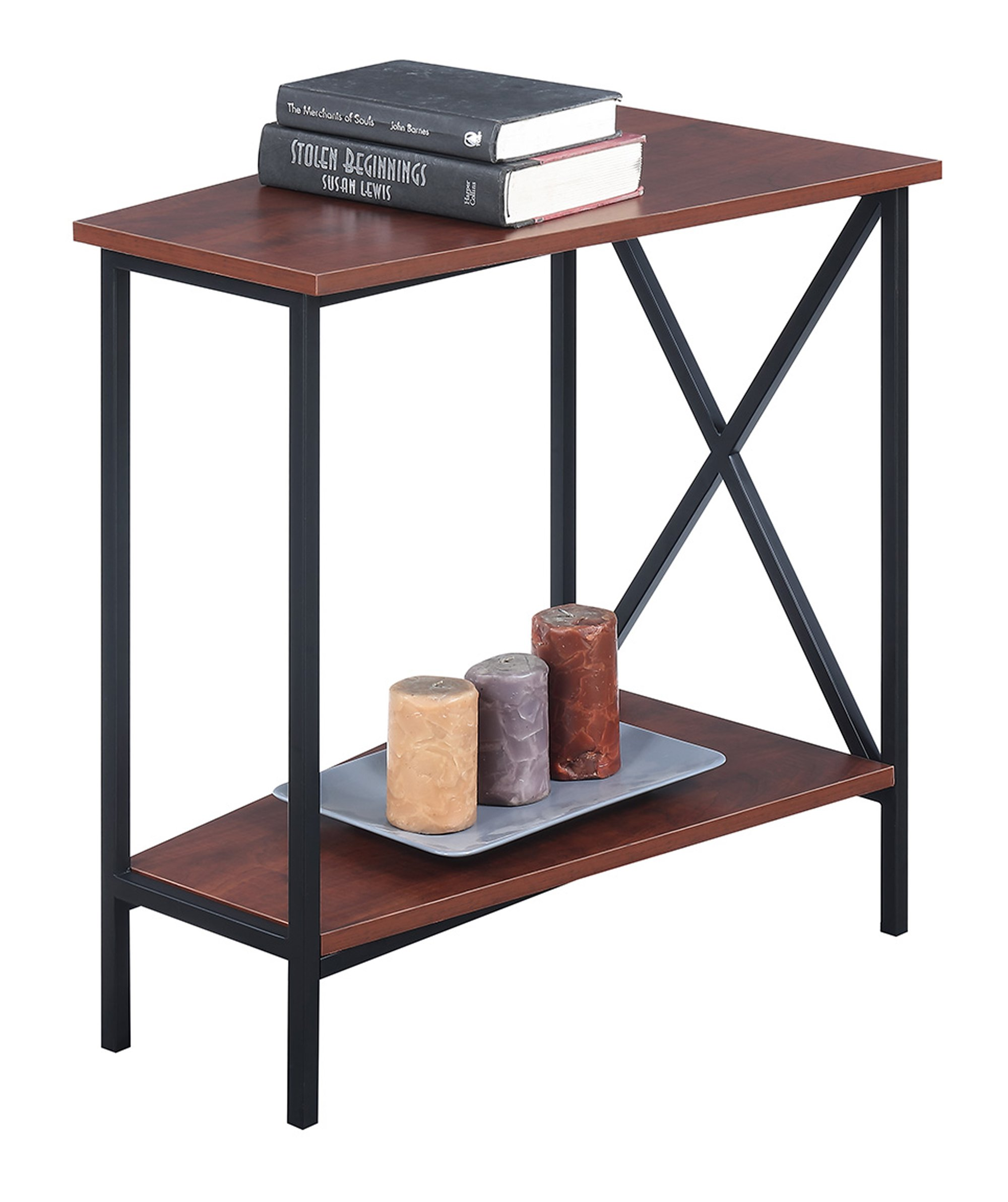 Convenience Concepts Tucson Wedge End Table, Black / Cherry by Convenience Concepts Tucson Wedge End Table, Black / Cherry (Image #2)