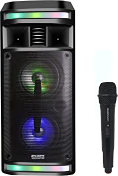 DYNASONIC - DY-65201 Altavoz Bluetooth Inalámbrico Sistema de Audio | Bluetooth, Altavoz Portatil, USB, Luces Multicolor, Radio FM, Micrófono, Color Negro