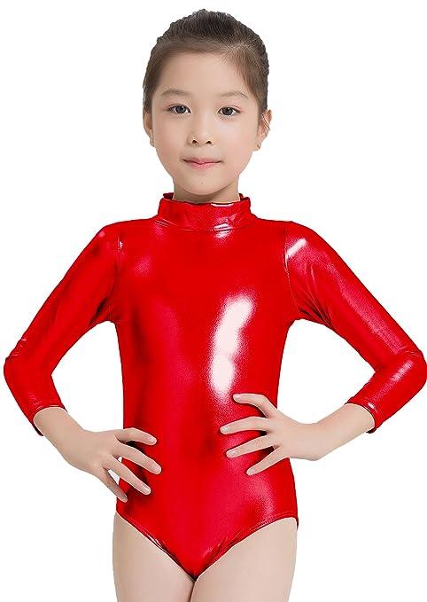 f448d7d07d4f Amazon.com  Speerise Girls Shiny Metallic Turtleneck Long Sleeve ...