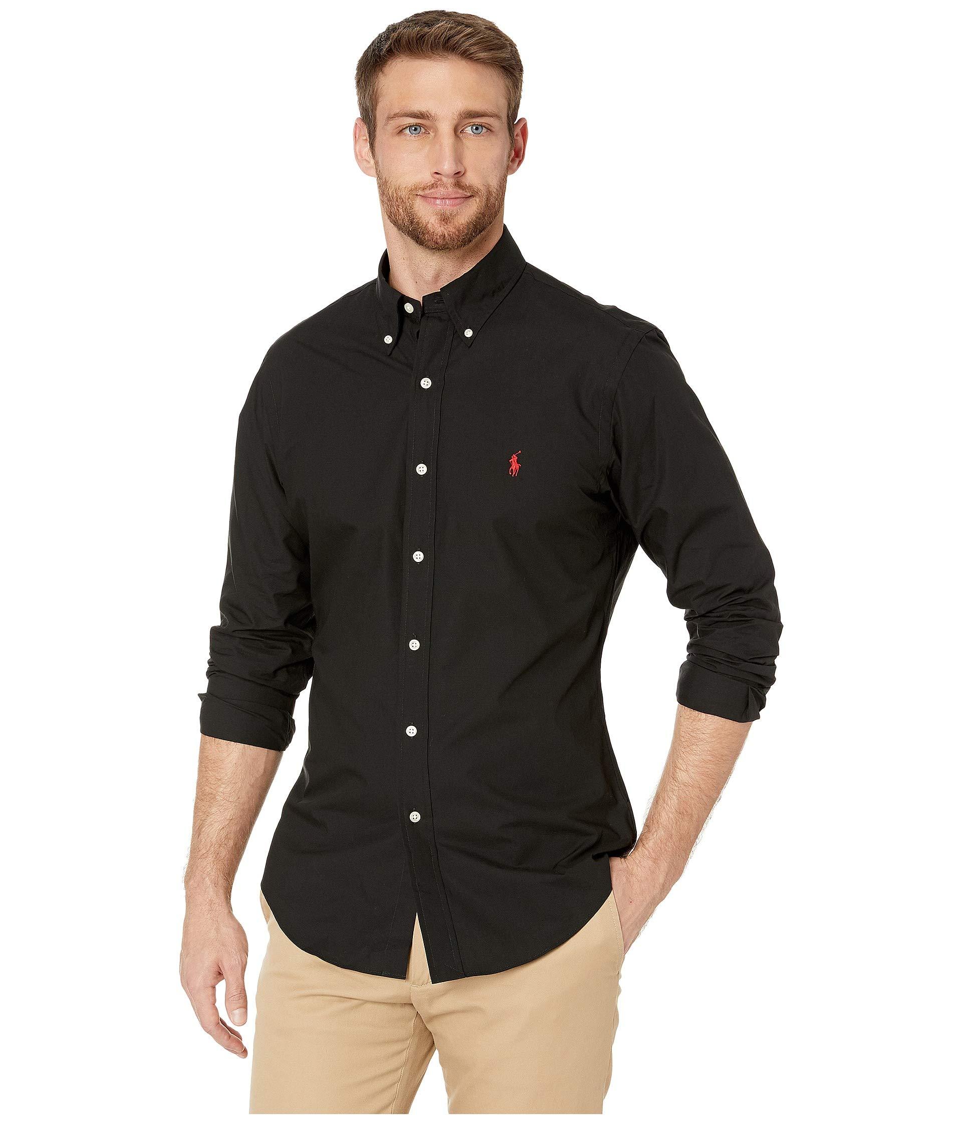 Polo Ralph Lauren Men Slim Fit Poplin Sport Shirt. PoloBlack, M
