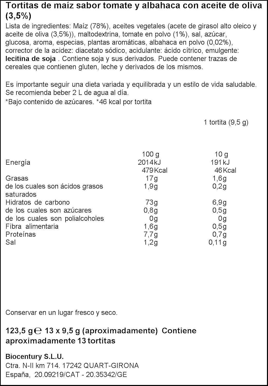 Bicentury Tortitas Maíz Tomate Con Aceite De Oliva Nackis ...