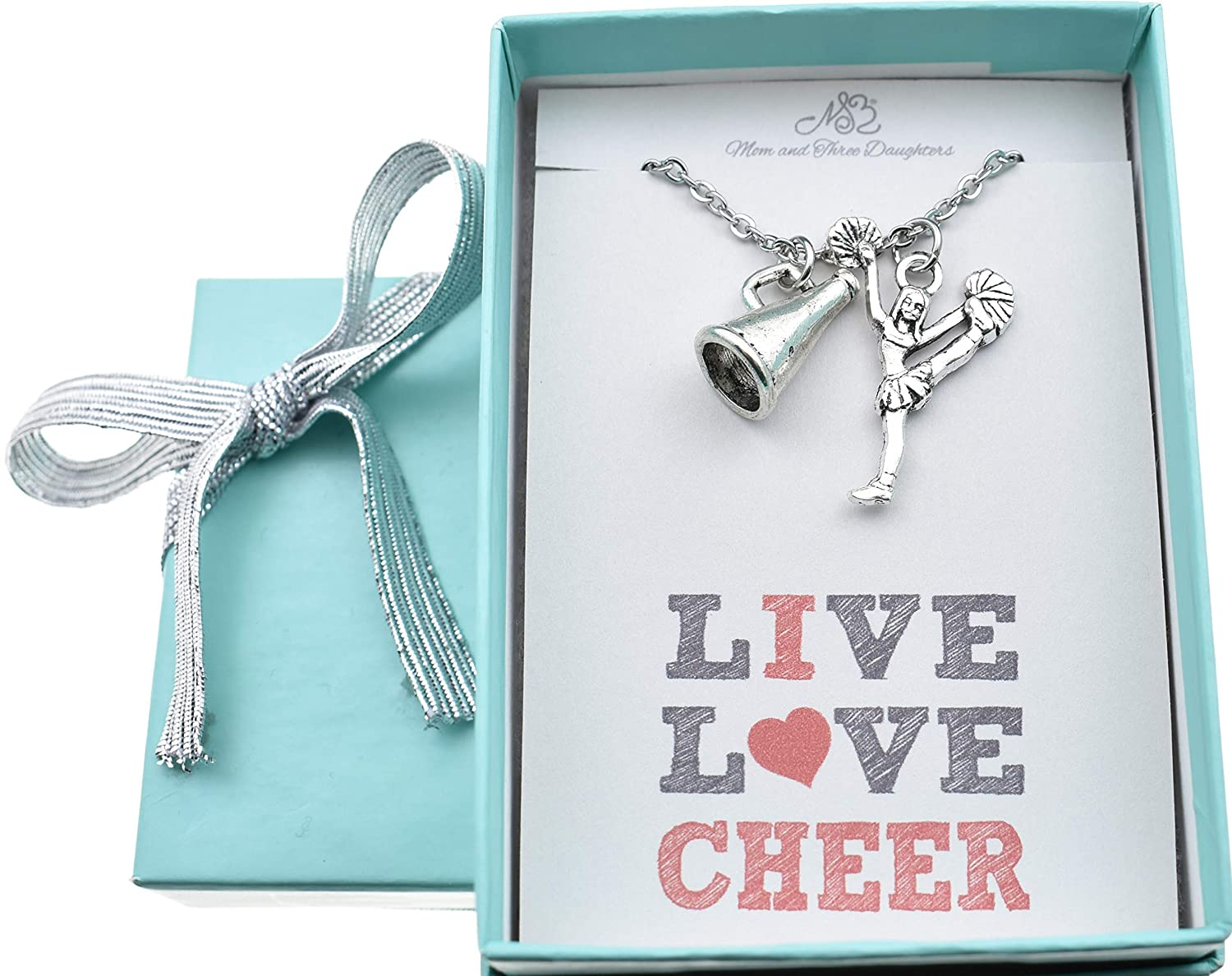 Live Love Cheer Personalized Jewelry Handcrafted 16 Inch Silver Cable Chain with Two Inch Extender Fabulous Gift for Her Cheerleader Charm Womens Necklace Stainless Steel