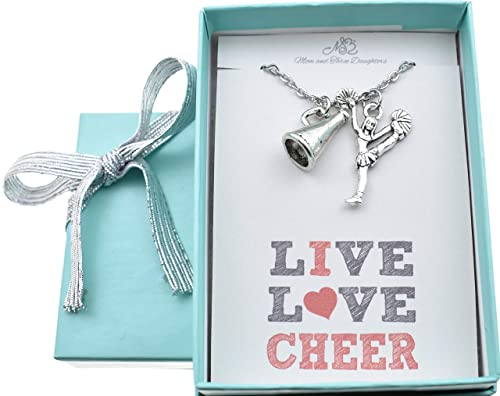 Laser Engraved Pendant Mother Gift Stainless Steel Pendant Cheer Mom- Your Choice of Pearl Color and a Silver Cheerleader Charm