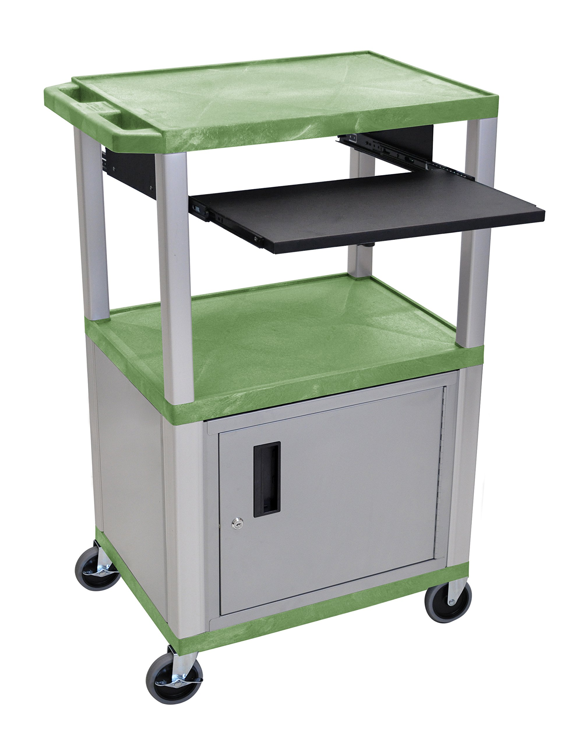 H WILSON WTPS42GC4E-N 3-Shelf Cart with Black Pullout Shelf, Nickel Cabinet and Legs, Tuffy, 42'', Green by H Wilson