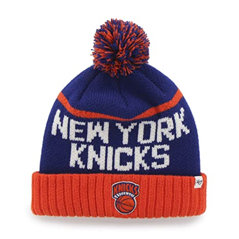 684bea734 NBA New York Knicks '47 Linesman Cuff Knit Hat with Pom, One Size Fits  Most, Royal