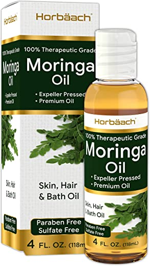 Premium Moringa Oil 4 oz | Paraben Free, Sulfate Free, Non-GMO | Max Hydration For Hair, Skin and Face | By Horbaach