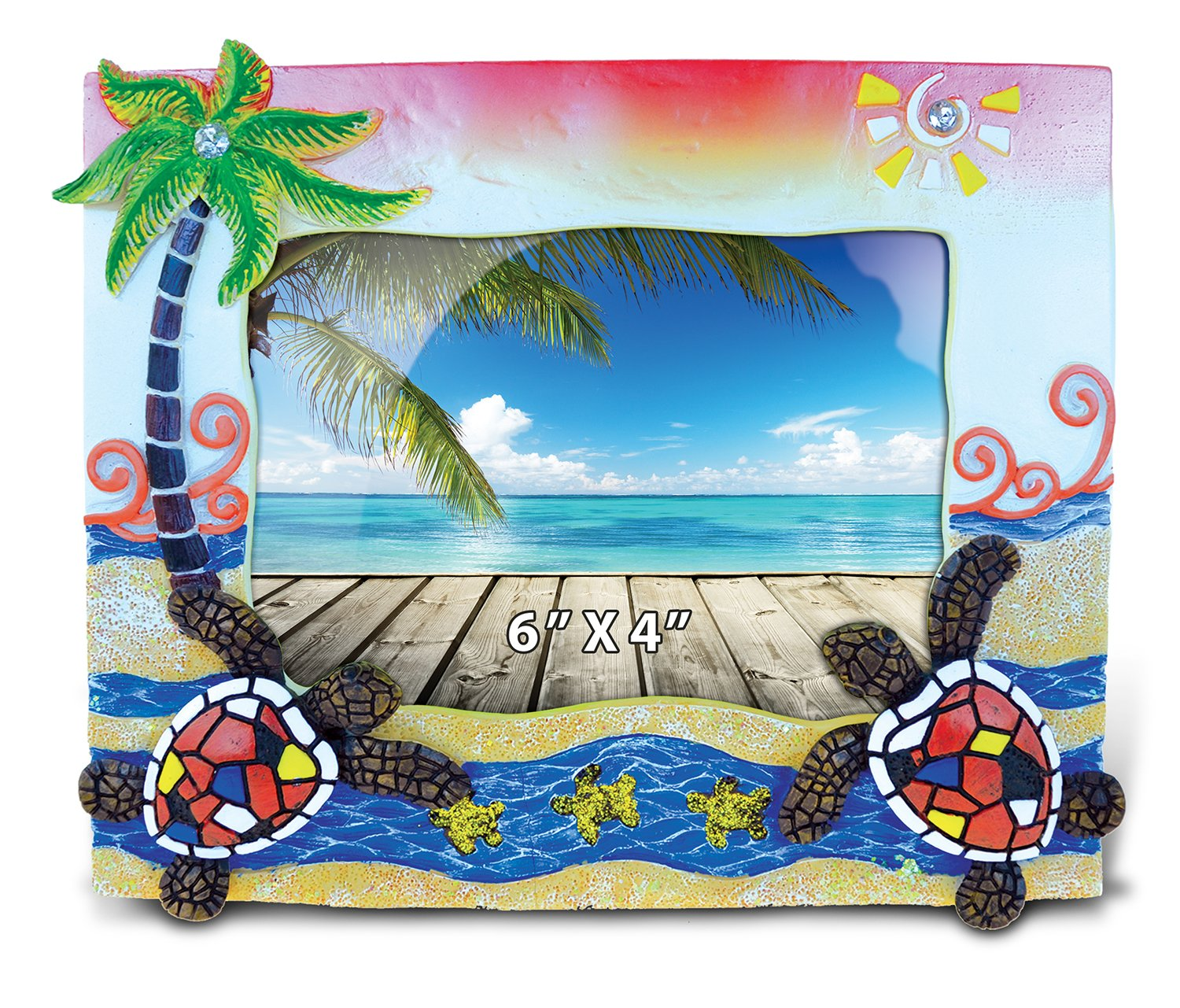 Puzzled Resin Sea Turtle Mosaic Picture Frame, 6 X 4 Inch Sculptural Photo Holder Intricate & Meticulous Detailing Art Handcrafted Tabletop Accent Accessory Tropical Beach Themed Home Décor