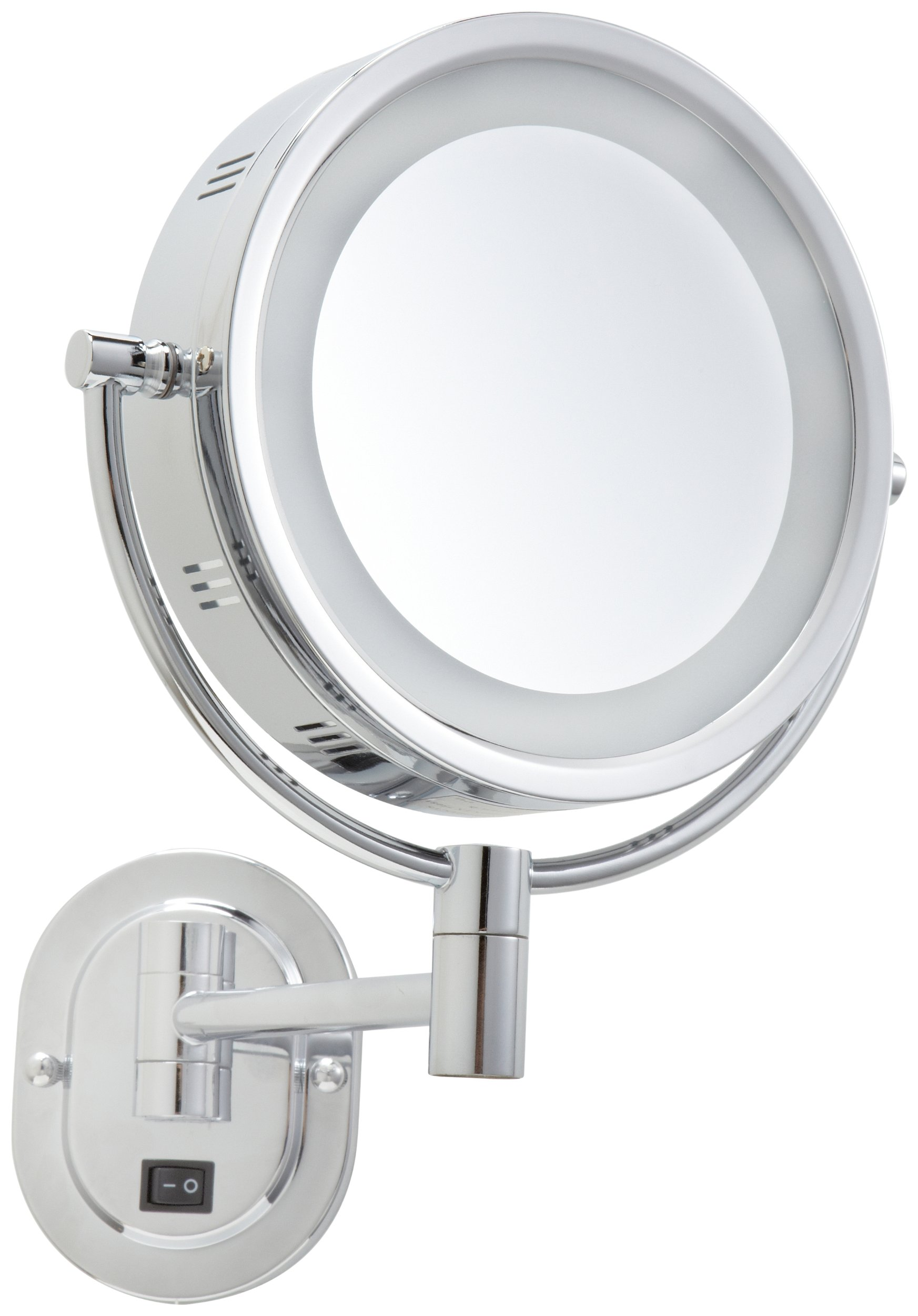 Jerdon HL165CD 8-Inch Lighted Wall Mount Direct Wire Makeup Mirror with 5x Magnification, Chrome Finish by Jerdon (Image #2)