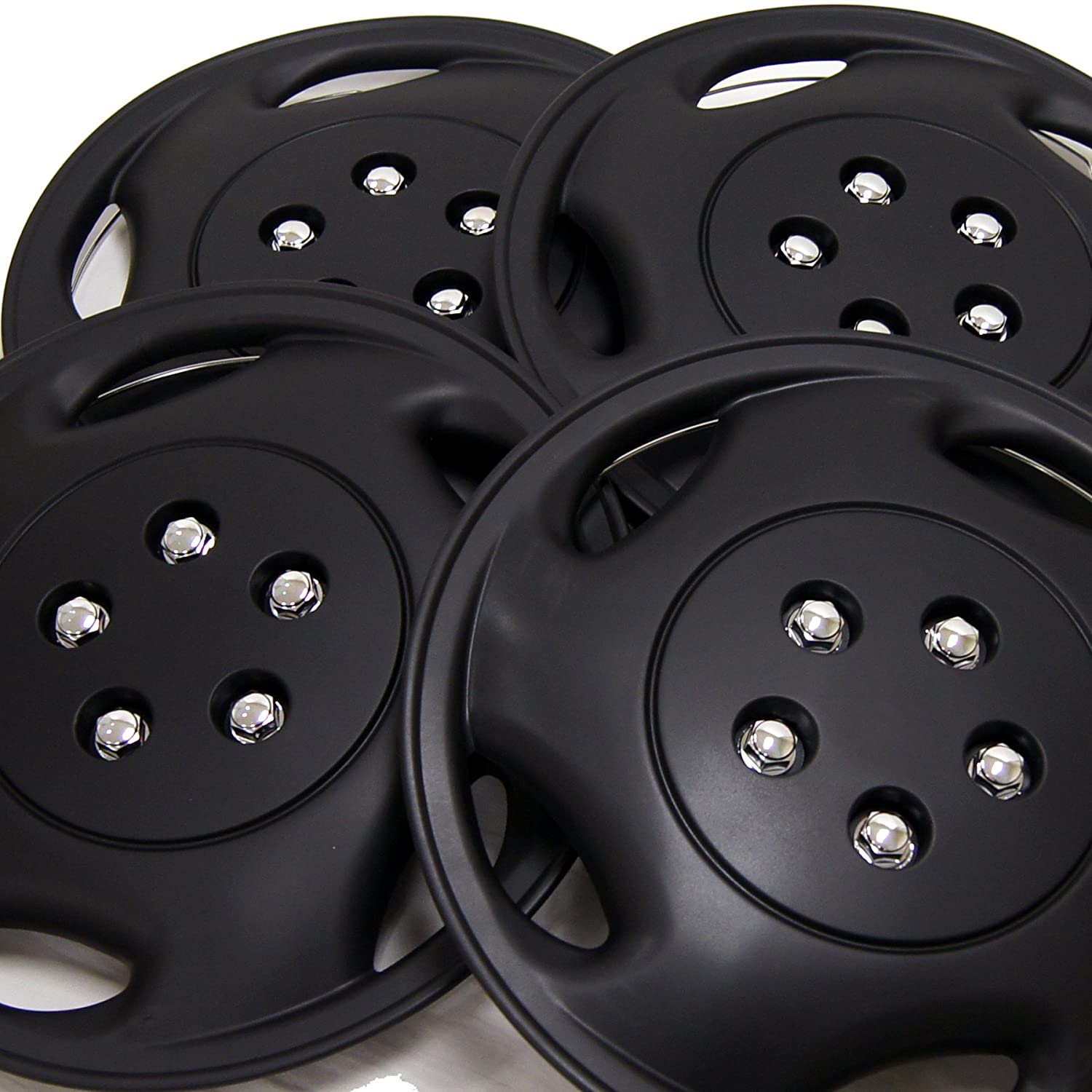Pop-On TuningPros WSC3-941B15 4pcs Set Snap-On Type 15-Inches Matte Black Hubcaps Wheel Cover