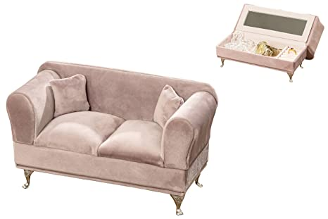 Review The Glam Pink Passion Jewelry Couch, Flip Open Compartments, 6:1 Doll House Size Sofa, 9 Inch Long