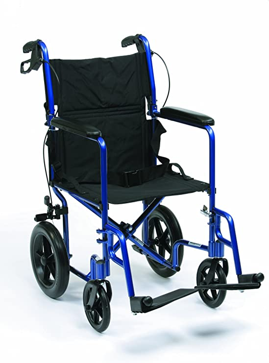 Drive Medical Expedition EXP19BL Sedia a rotelle da viaggio, in alluminio, leggera, 46 cm (19