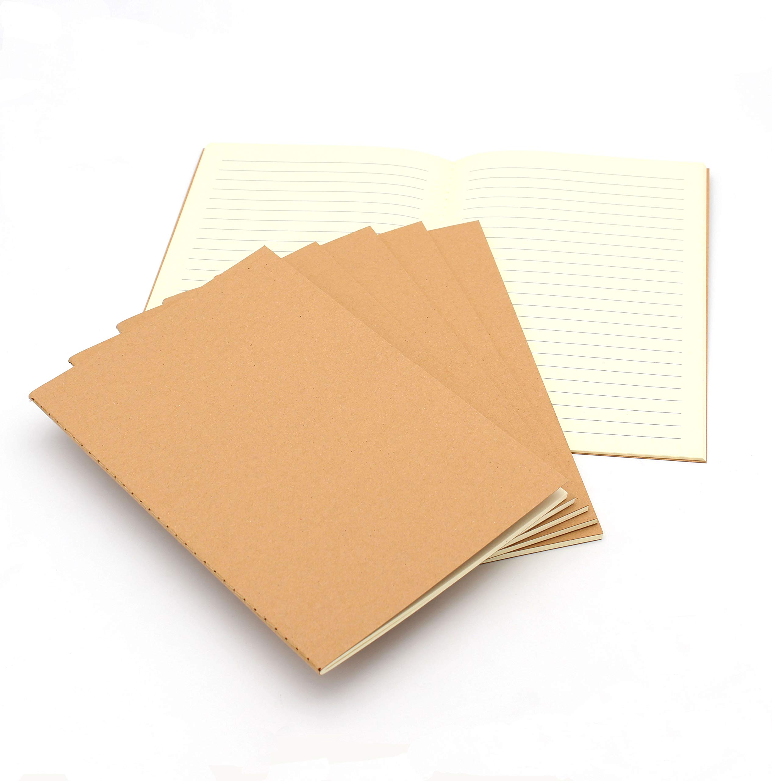 Tueascallk Travel Journal, Kraft Brown Soft Cover Notebook, A5 Specifications(5.5'' x 8.3''), College Ruled Paper,Row Spacing 0.3'', 60 Pages/30 Sheets, 6 Packs