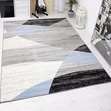 Wohnzimmer Teppich Modern Geometrisches Muster Gestreift Meliert in ...