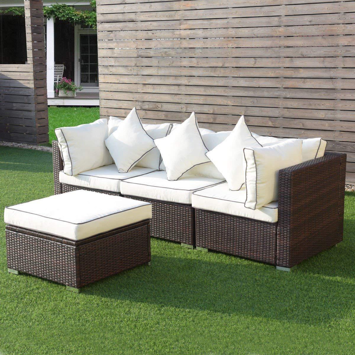 Amazon com tangkula 4pcs patio wicker sofa furniture set outdoor patio garden lawn modern wicker rattan sofa cushioned seat garden outdoor