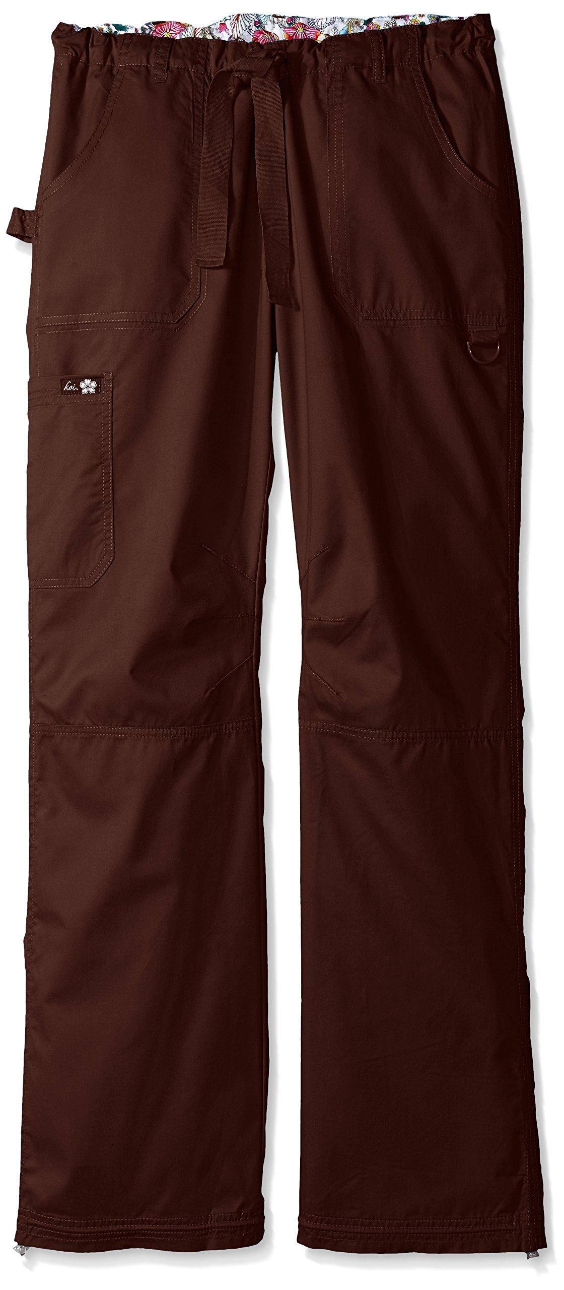 KOI Women's Tall Lindsey Ultra Comfortable Cargo Style Scrub Pants Sizes, Espresso, Medium/Tall